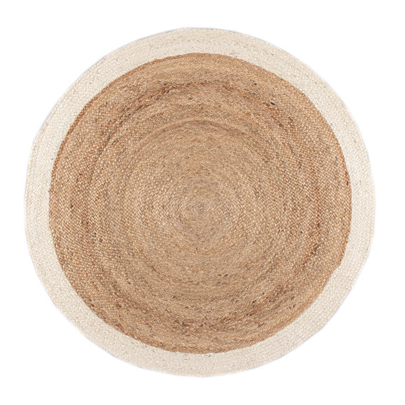 FRAAI   Jute vloerkleed - Fair Rond naturel/wit