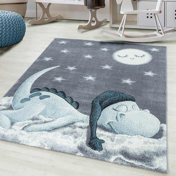 Adana Carpets Kindervloerkleed - Bambi Dino Blauw