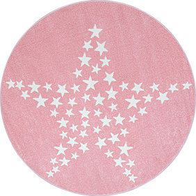 Adana Carpets Rond Kindervloerkleed - Bambi Ster Roze