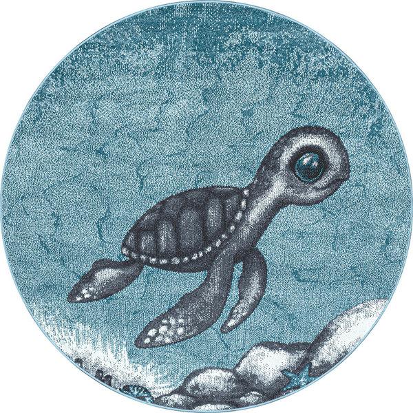 Rond Kindervloerkleed - Bambi Schildpad Blauw