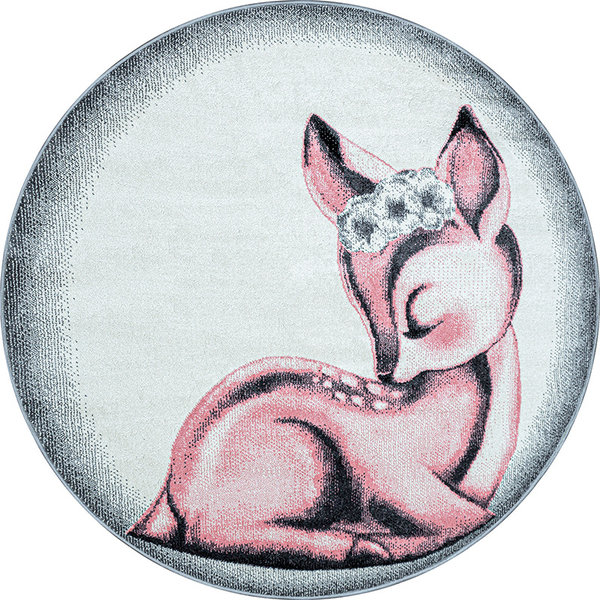 Adana Carpets Rond Kindervloerkleed - Bambi Hert Roze