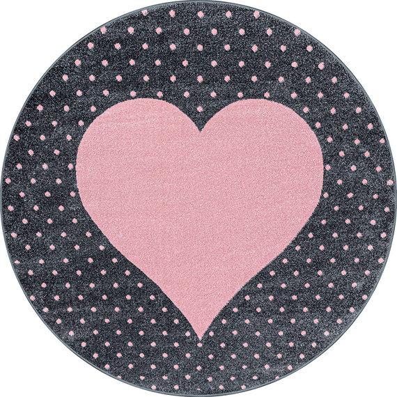 Adana Carpets Rond Kindervloerkleed - Bambi Hart Roze