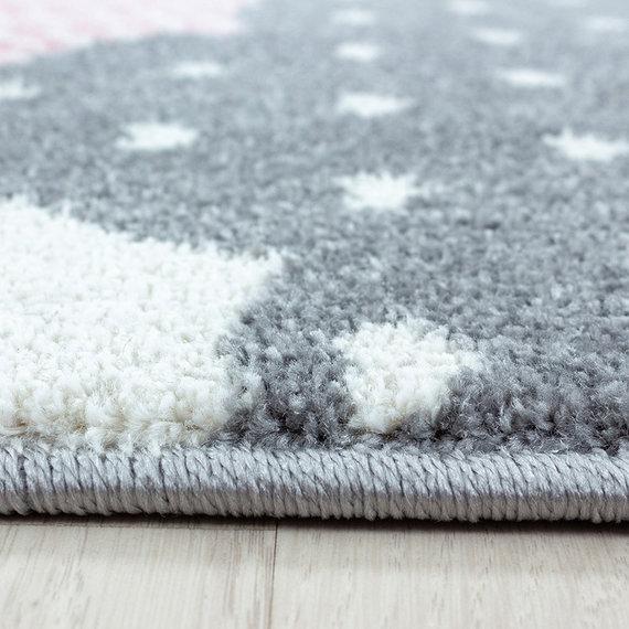 Adana Carpets Rond Kindervloerkleed - Bambi Wolken Roze