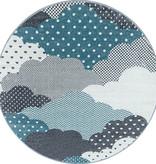 Adana Carpets Rond Kindervloerkleed - Bambi Wolken Blauw