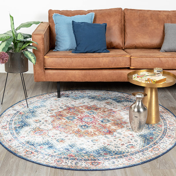FRAAI Rond Vintage vloerkleed - Azara Lichtblauw