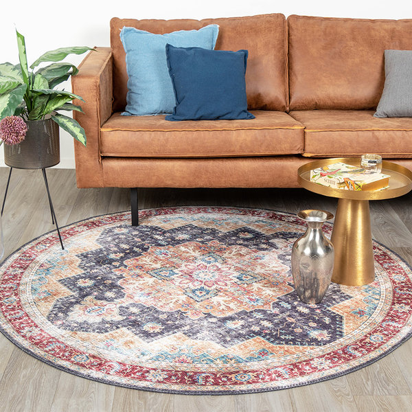 Rond Vintage vloerkleed - Azara Blauw Rood
