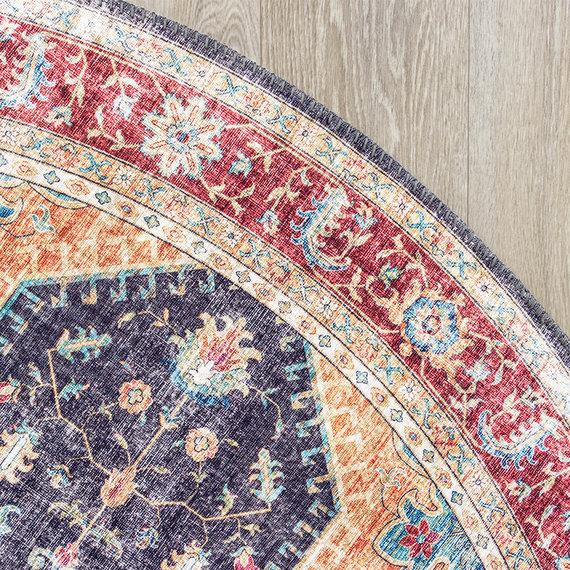 FRAAI Rond Vintage vloerkleed - Azara Blauw Rood
