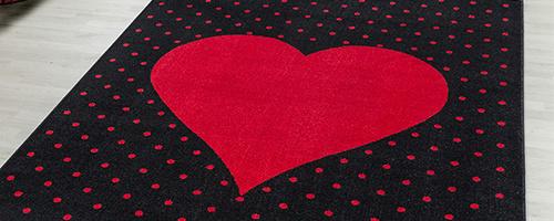 Vloerkleed met hartjes