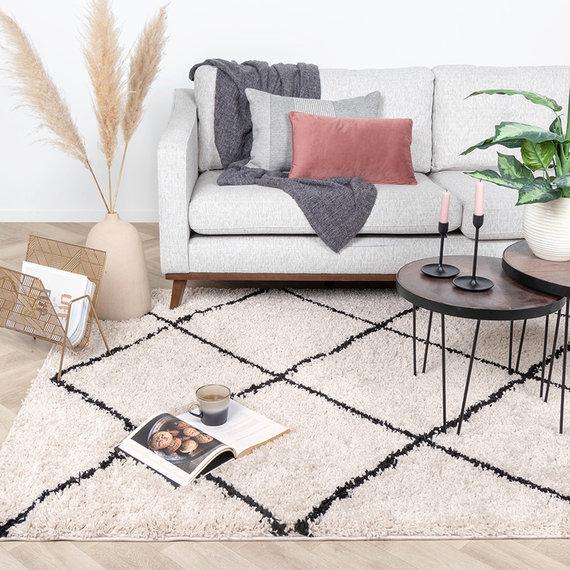 FRAAI Hoogpolig vloerkleed - Sensa Lines Creme/Zwart