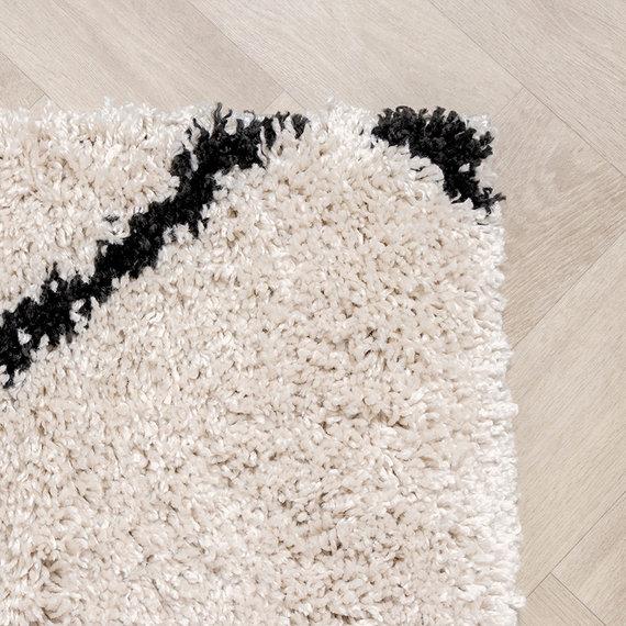 FRAAI  Hoogpolig vloerkleed - Sensa Square Creme/Zwart