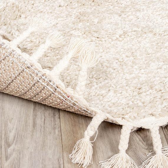 FRAAI Rond hoogpolig vloerkleed - Lofty Fringe Creme/Wit