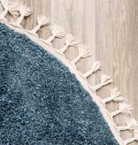 FRAAI Rond hoogpolig vloerkleed - Lofty Fringe Blauw