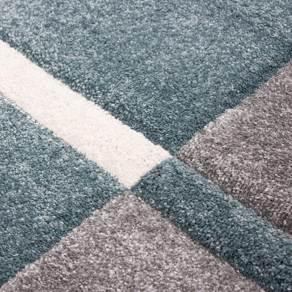 Adana Carpets Moderne Loper - Tetris Blauw 1310