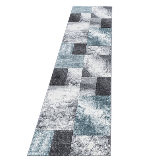 Adana Carpets Moderne loper  - Tetris Blauw 1710