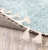 FRAAI Rond hoogpolig vloerkleed - Lofty Fringe Lichtblauw