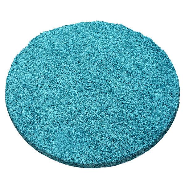 Rond hoogpolig vloerkleed - Sade Turquoise