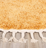 FRAAI Rond hoogpolig vloerkleed - Lofty Fringe Geel