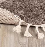 FRAAI Rond hoogpolig vloerkleed - Lofty Fringe Taupe
