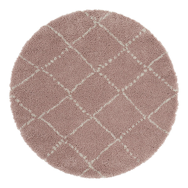 Rond vloerkleed - Allure Hash Roze Creme