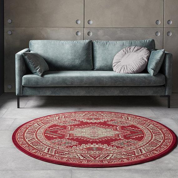 Nouristan Rond Perzisch tapijt - Mirkan Saricha Rood