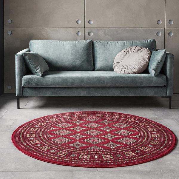 Rond Perzisch tapijt - Mirkan Sao Rood