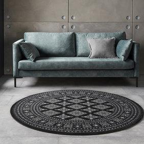 Nouristan Rond Perzisch tapijt - Mirkan Sao Zwart