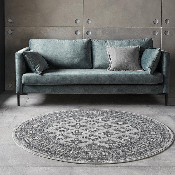 Rond Perzisch tapijt - Mirkan Sao Grijs