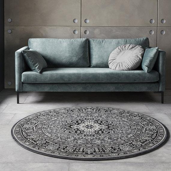 Nouristan Rond Perzisch tapijt - Mirkan Skazar Donkergrijs