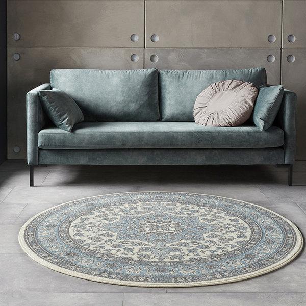 Rond Perzisch tapijt - Mirkan Parun Blauw Creme