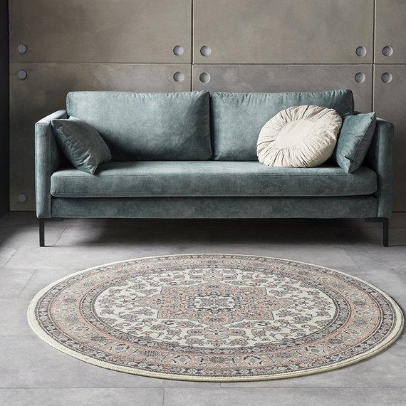 Nouristan Rond Perzisch tapijt - Mirkan Parun Roze Creme