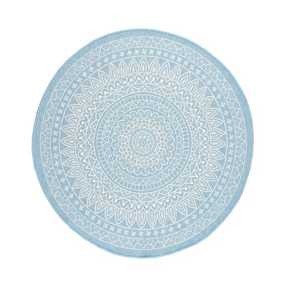 FRAAI Rond Buitenkleed - Summer Azteca Lichtblauw