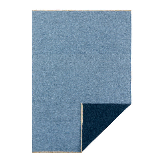 Hanse Home Effen vloerkleed - Duo Lichtblauw Donkerblauw