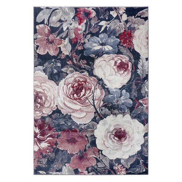Bloemen vloerkleed - Romance Peony Rood Blauw