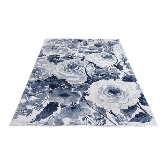 Mint Rugs Bloemen vloerkleed - Romance Peony Blauw Creme