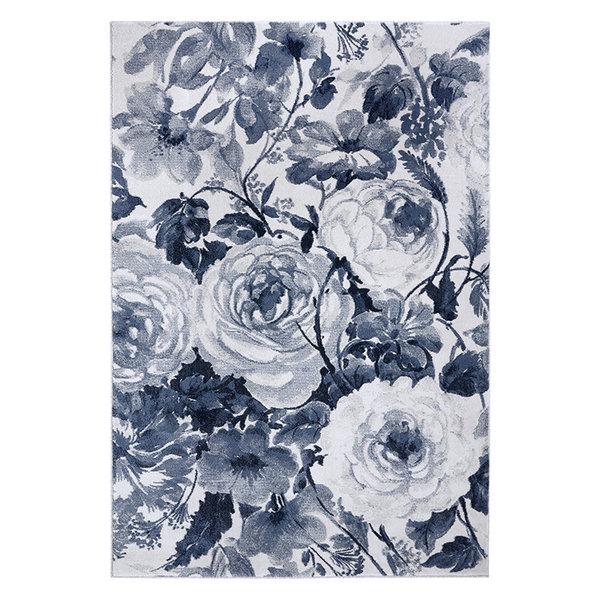 Bloemen vloerkleed - Romance Peony Blauw Creme