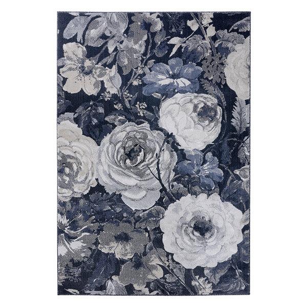Bloemen vloerkleed - Romance Peony Grijs Blauw