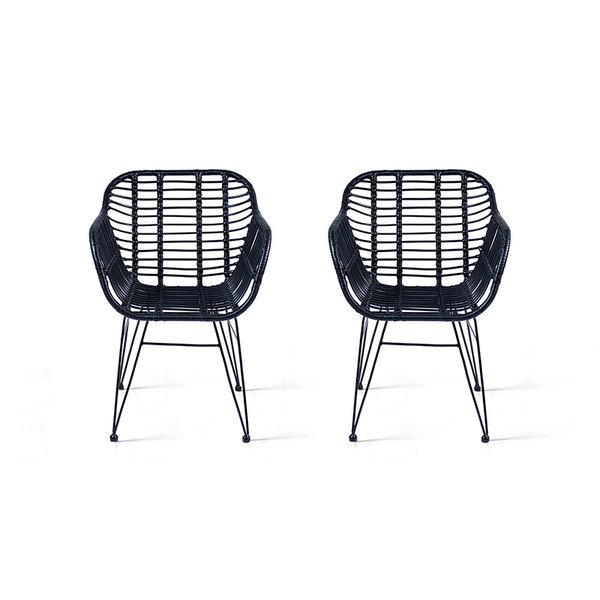 Rotan stoel - Rodri Zwart Set/2