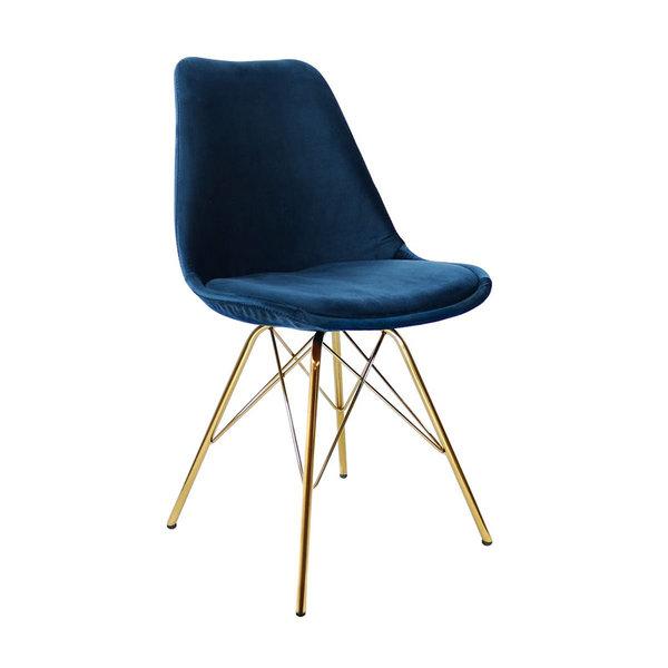 Stoel Velvet Donkerblauw - Goud frame