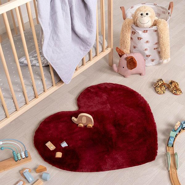 Kindervloerkleed - Huggy Hart Rood