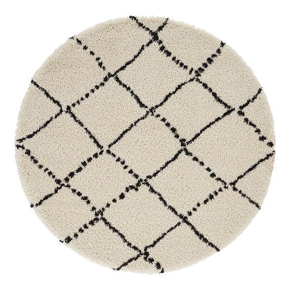 Mint Rugs Rond vloerkleed - Allure Stripe Creme Zwart