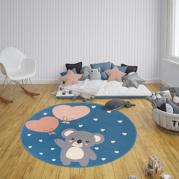 Rond kindervloerkleed - Lara Koalabeer Blauw