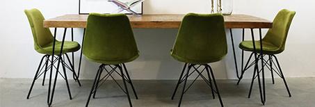Groene velvet stoelen