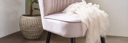 Roze fauteuil velvet