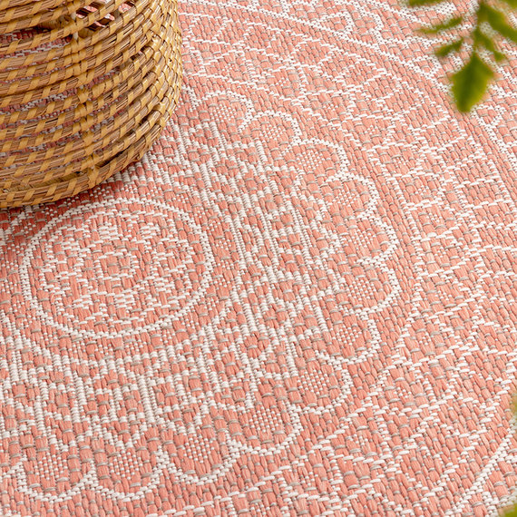 FRAAI Rond Vloerkleed - Summer Azteca Roze