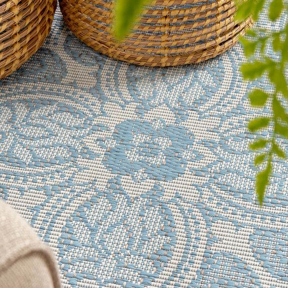 FRAAI Rond Vloerkleed - Summer Oriental Lichtblauw