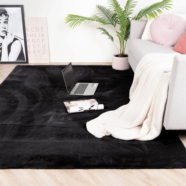 Zacht Hoogpolig vloerkleed - Comfy Zwart