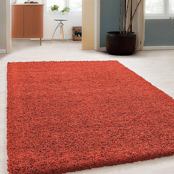 Hoogpolig vloerkleed - Solid Rood