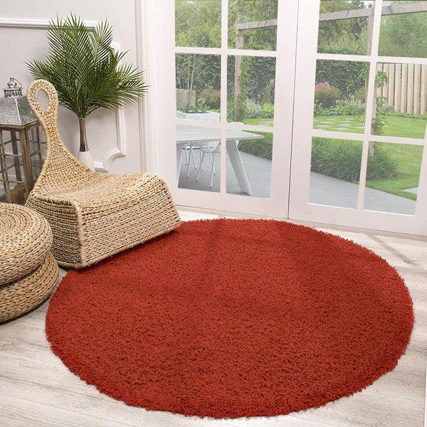 Rond Hoogpolig vloerkleed - Solid Rood
