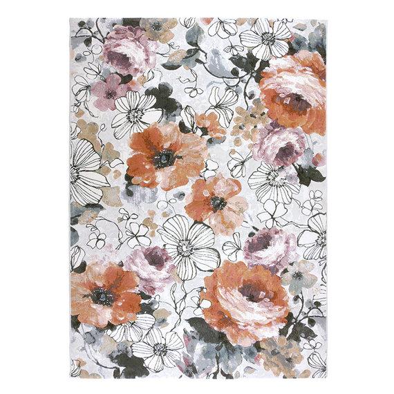 FLOOR Bloemen vloerkleed - Roos Multicolor