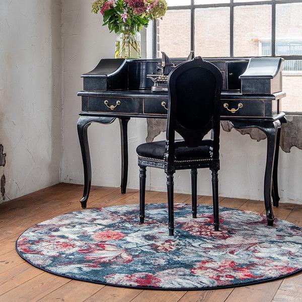 Rond Bloemen vloerkleed - Flores Blauw Rood